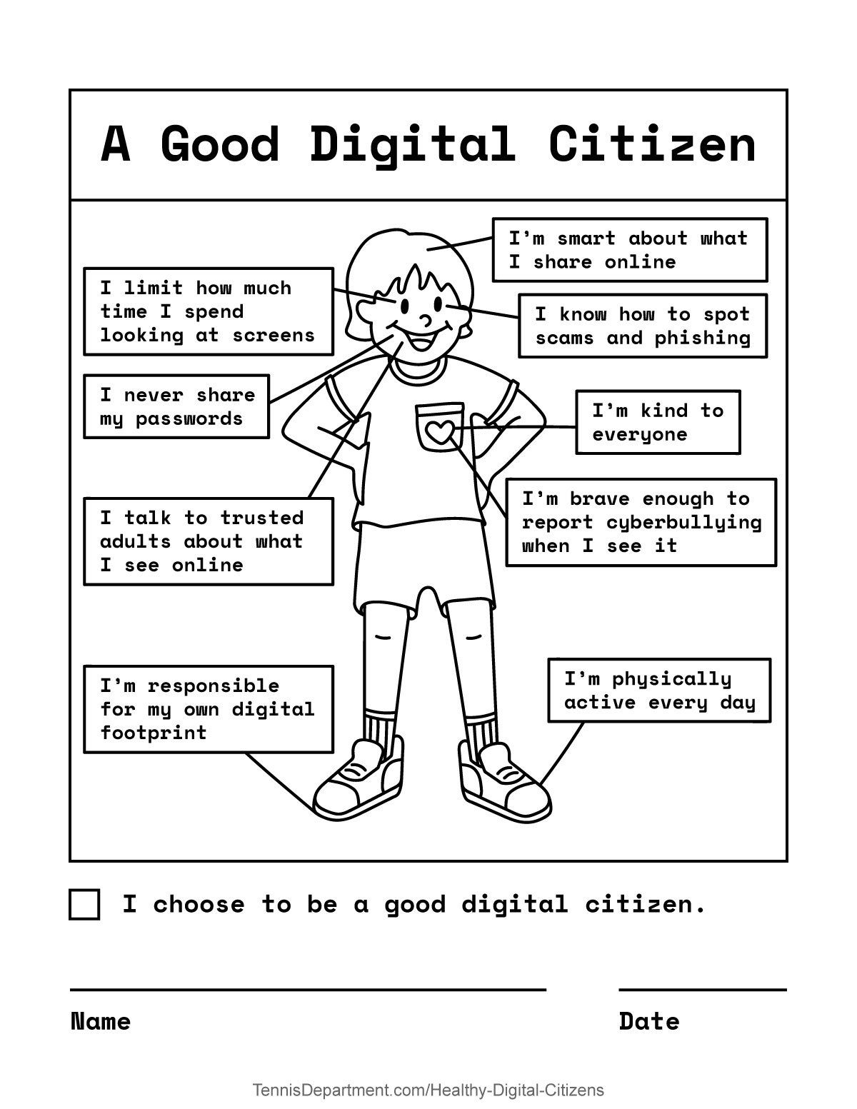 Good Digital Citizen - Worksheet for kids to learn about good digital citizenship and internet safety