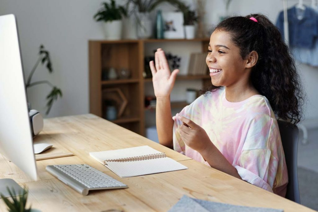 Girl using video chat - Internet safety